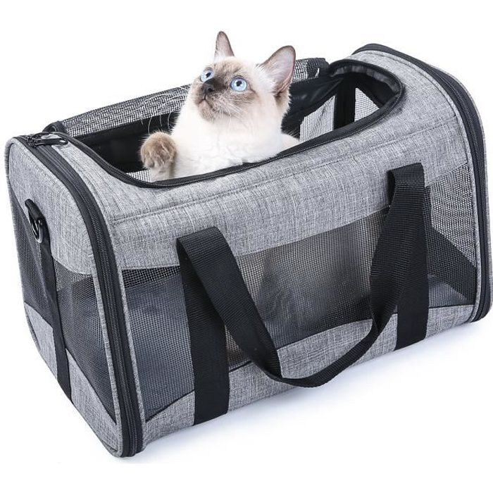 Sac Transporteur pour animaux domestiques, Sac Transport Chat, sac transport chien, Confort, extensible et pliable-gris