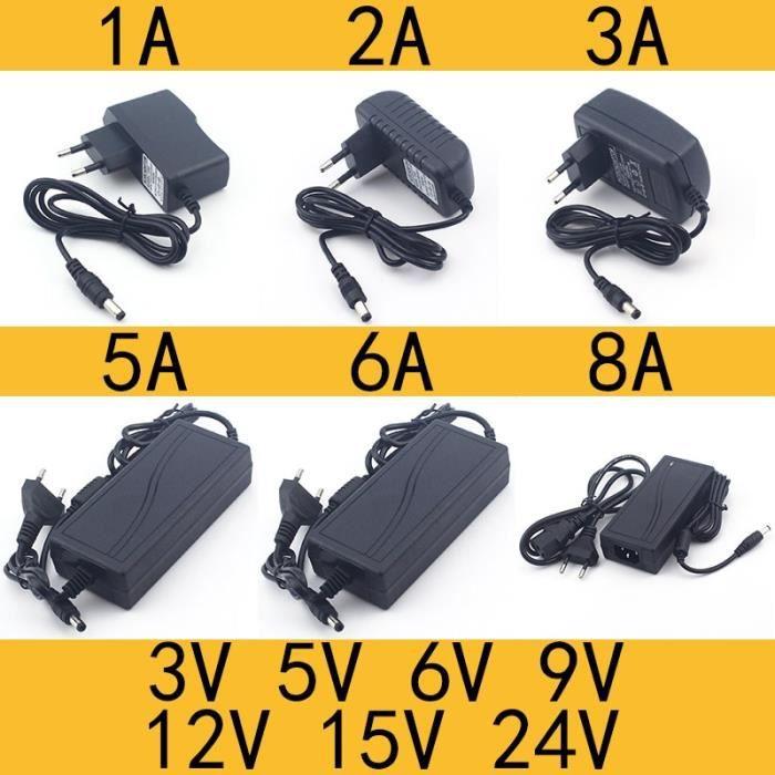 0.5A-EU Plug-3V -AC 110 240V DC 3V 5V 6V 9V 12V 15V 24V 0.5A 1A 2A 3A 5A 6A 8A Universel Adaptateur D'alimentation Chargeur adaptate