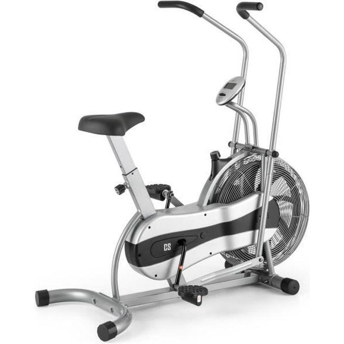 CAPITAL SPORTS Stormstrike 2k - Vélo d'appartement cross-training entrainement et cardio (résistance croissante par éolienne) - gris