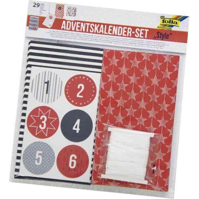 Set de 24 Sacs Papier Calendrier de l Avent + 7 m Bande satin