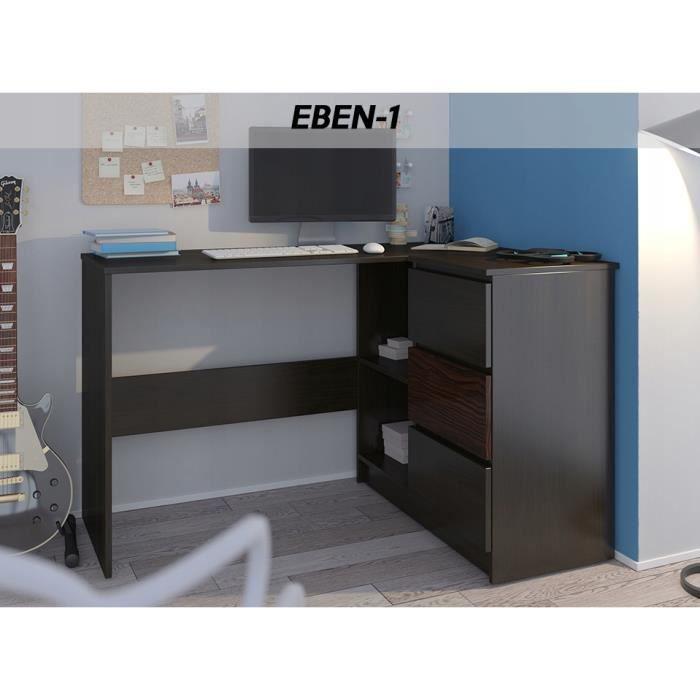 REX W - Bureau d'angle + rangements + 3 tiroirs - 112x87x76cm - Table d'ordinateur - Table de travail - Wengé Ebène