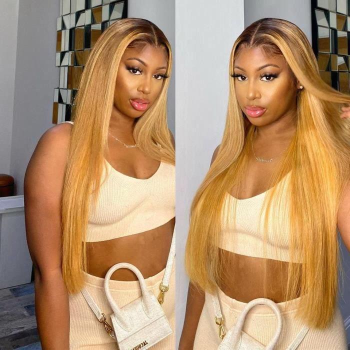 24'' Perruque Lace Front Wig Naturelle Lisse Et Longue Cheveux Humains Couleur Blond Miel Ombré 1b 27