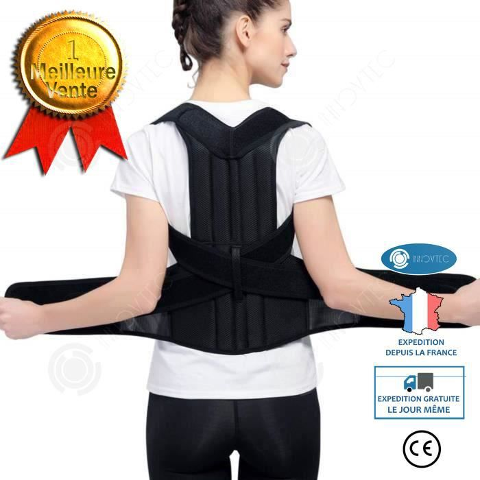 INN® Redresse dos maintien dos homme femme correcteur posture fort réglable corset ceinture d'épaule magnétique corset attelle M26-3