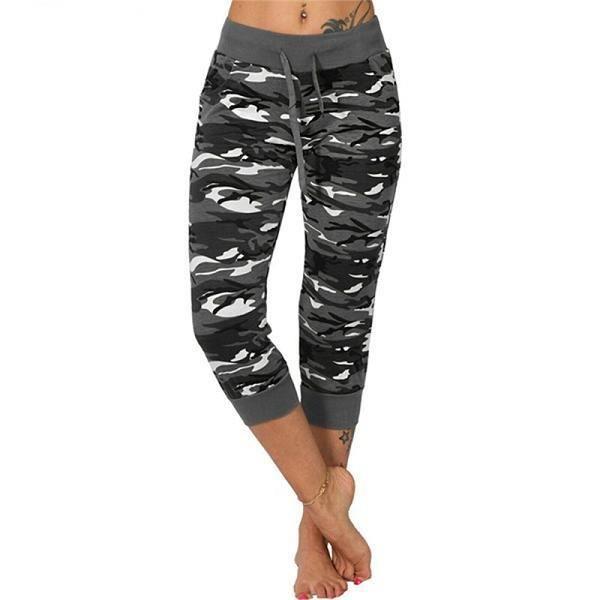 Pantalon de yoga femme,3-4 pantalons de Yoga femmes mollet longueur pantalon Camouflage imprimé pantalon Sport Leggings femmes Fitn