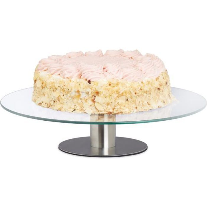 Relaxdays Plat à tarte tournant plateau présentation verre gâteau mariage décoration cuisine Ø 30 cm, transparent