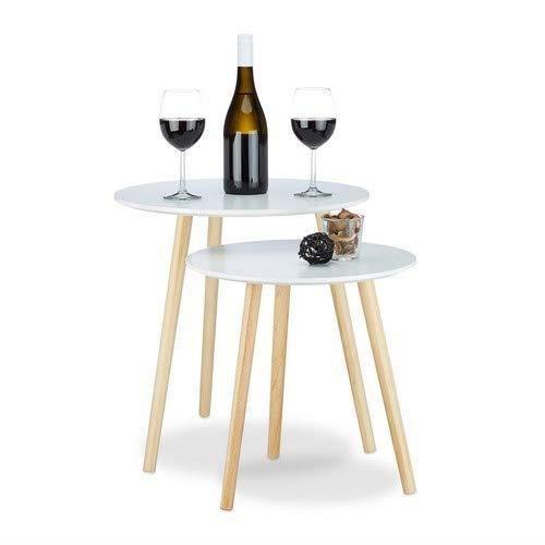 Relaxdays 10020985 Table d'appoint lot de 2 gigognes scandinave nordique table basse ronde salon diamètre 39 et 47,5 cm, blanc natu