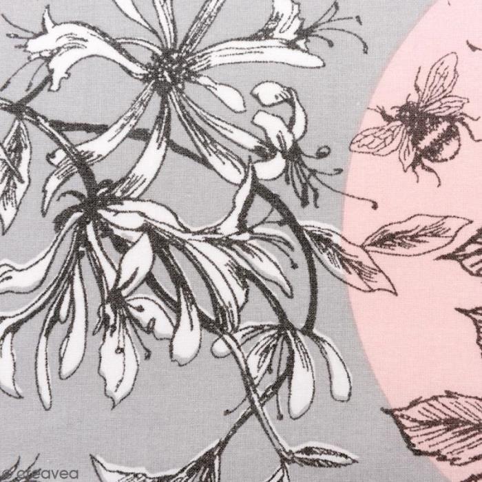 Tissu Rico - Toile de Jouy - Oiseaux - fond Gris et Rose - Par 10 cm (sur mesure) issu Rico Design :Vendu à la coupe, par 10