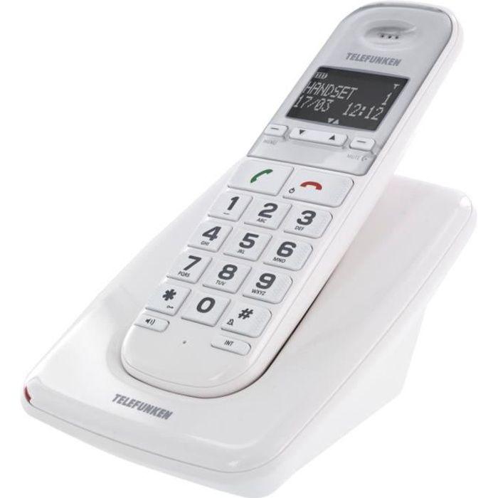 TELEFUNKEN téléphone SOLO grosses touches sénior TD 301 - Compatible appareil auditif - Mains libres - Blanc