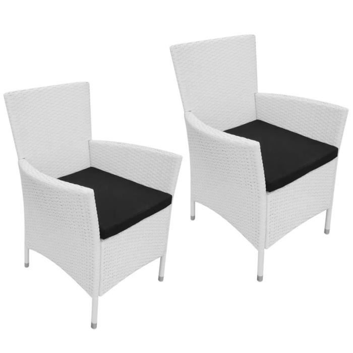 FAUTEUIL JARDIN  Lot de 2 Chaises de jardin rotin synthétique blanc