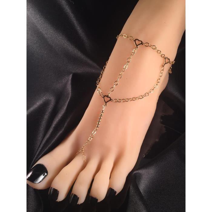 CHAINE DE CHEVILLE Bracelet esclave harnais d'or Anklet de la chaîne