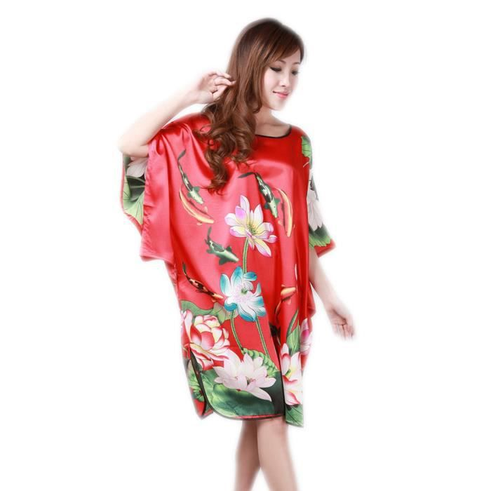 femmes pyjama chemise de nuit robe de nuit de chambre peignoir kimono poisson lotus rouge rouge. Black Bedroom Furniture Sets. Home Design Ideas