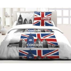 Housse de couette 140x200 cm london city 47 1to achat for Housse de couette london 1 personne