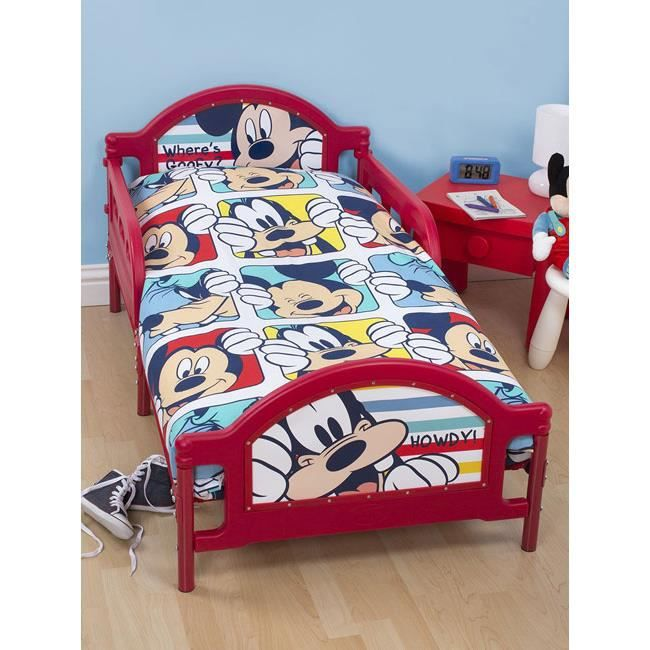 mickey mouse parure de lit junior achat vente housse de couette cdiscount. Black Bedroom Furniture Sets. Home Design Ideas