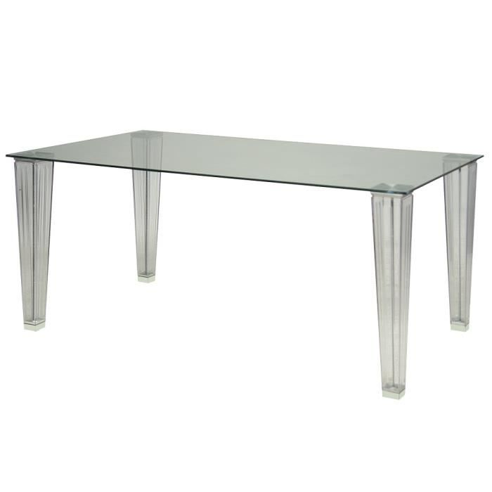 Table Rectangulaire En Verre Transparent 160 Cm Achat