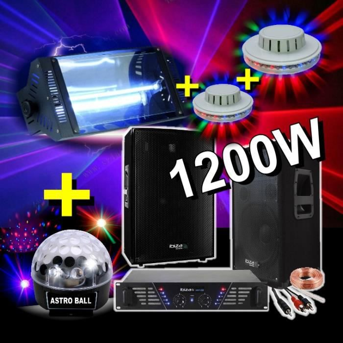 pack sono light led 1200w 4 jeux de lumi re dj pack. Black Bedroom Furniture Sets. Home Design Ideas