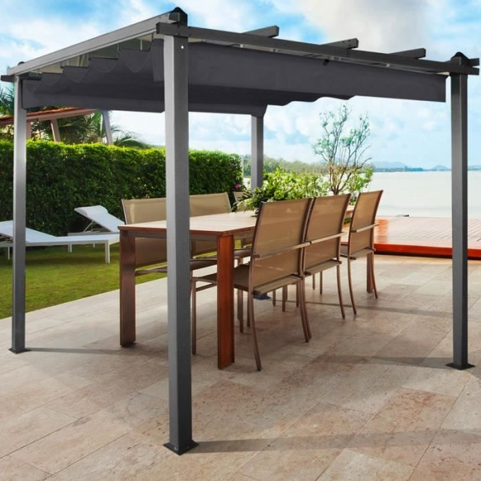pergola toit r tractable gris tonnelle 4 pieds 3x4m achat vente tonnelle barnum pergola. Black Bedroom Furniture Sets. Home Design Ideas