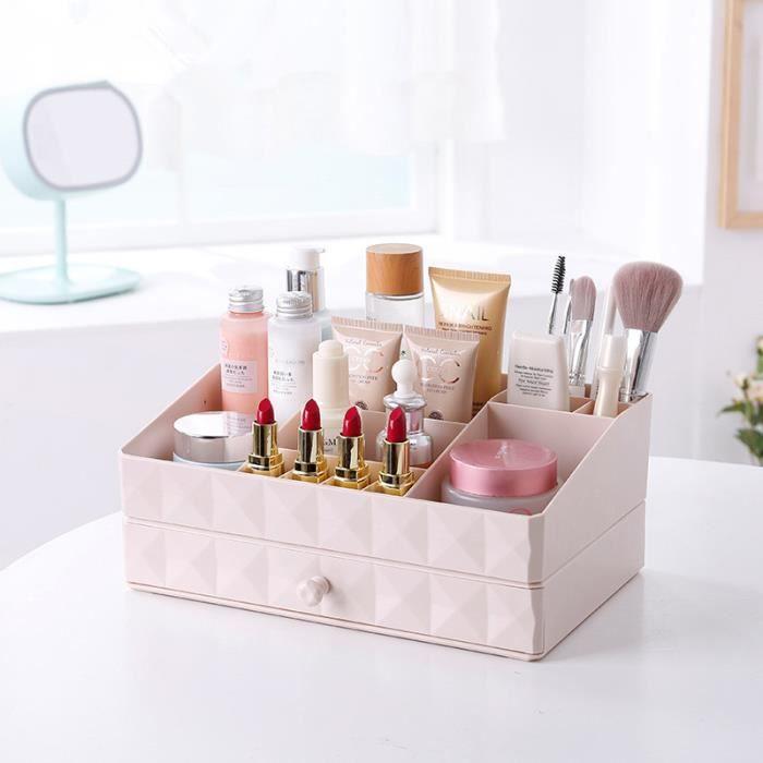 Organiseur Rangement Maquillage Tiroir 2 Compartiments Pour Cosmetiques Pour Salle De Bain Bureau Boite De Rangement Rose Achat Vente Boite De Rangement Cdiscount