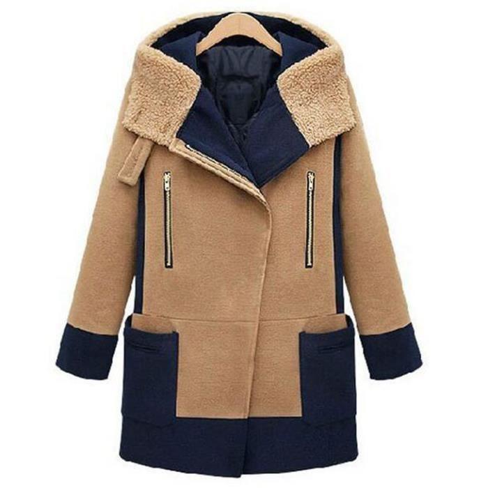 Kaki Manteau Femme Laine Mi longue Col Revers avec Capuche Manche Longue Zippé Oblique Chaud Nouveauté Jontif Amincissant Hiver