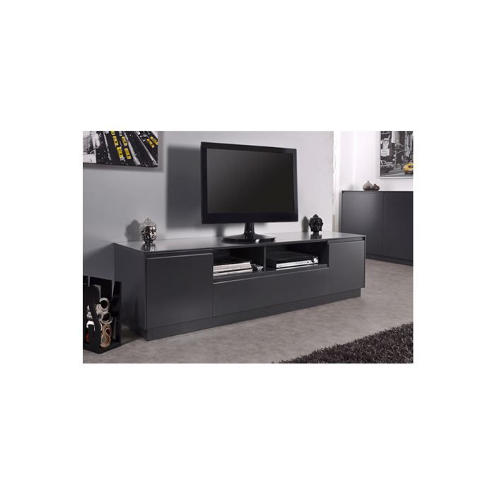 meuble tv lack gris achat vente meuble tv meuble tv lack gris mdf laqu cdiscount. Black Bedroom Furniture Sets. Home Design Ideas