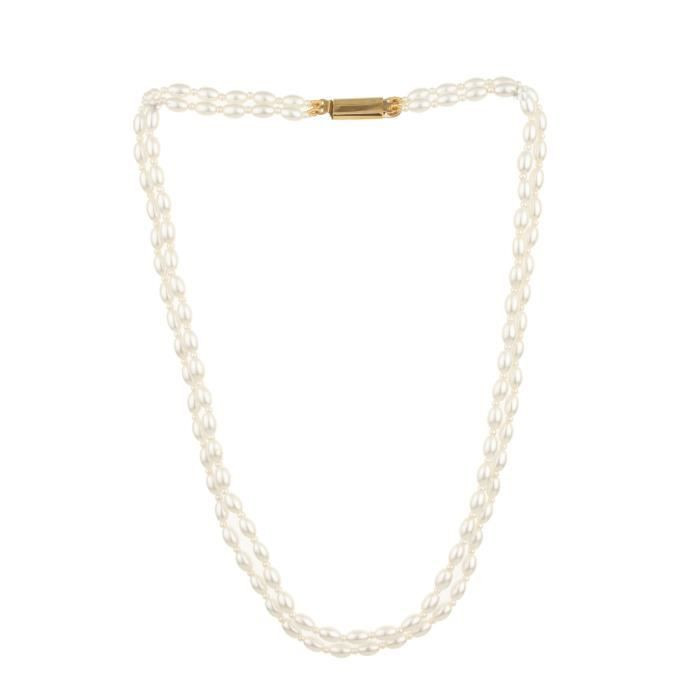 Womens Elegant Double Line White Pearl 16 Evergreen Necklace Gift ForICV3B