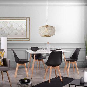 TABLE DE CUISINE  Table à manger pour 4 personnes + 4 chaises noir-D