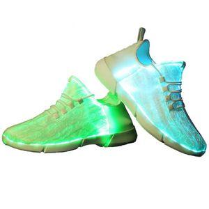 BASKET fibre optique led allume chaussures blanc pour fil