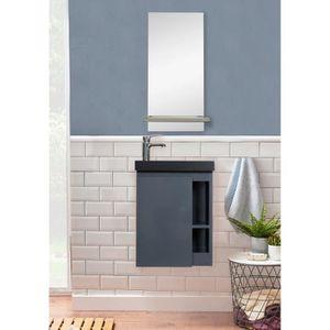 MIROIR SALLE DE BAIN Meuble Lave-mains Gris & noir + Miroir L41,5 x H53