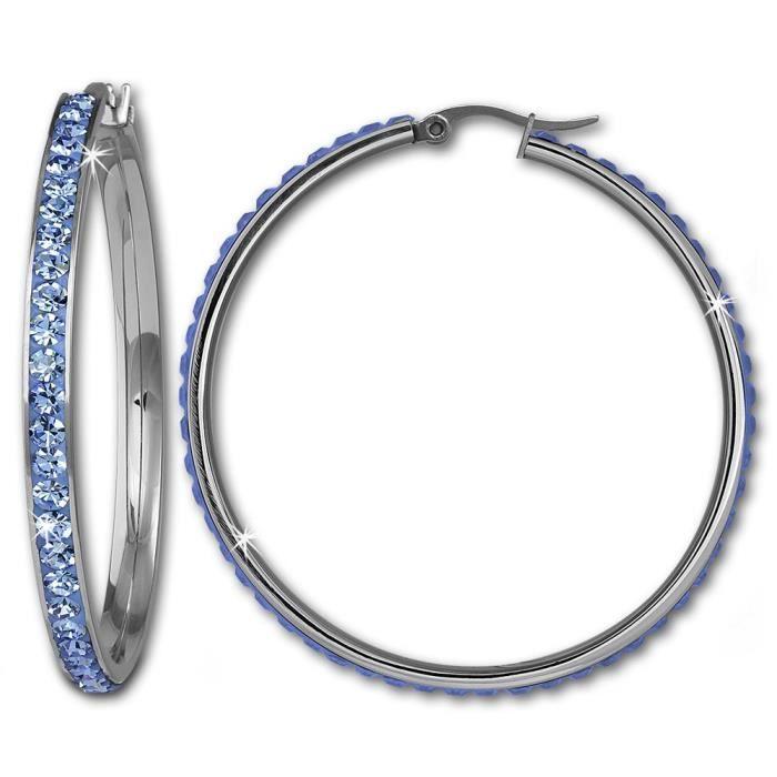Amello boucles d'oreilles rondes en acier inoxydable avec Cristaux Swarovski Elements bleu clair-diamètre 50 mm-Femme-Boucles d'o