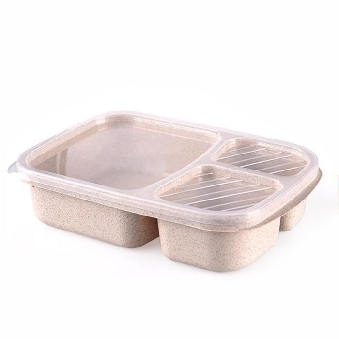 Boîte à lunch boîte à bento 3 compartiments divisés ustensiles de cuisine pour micro-ondes Beige