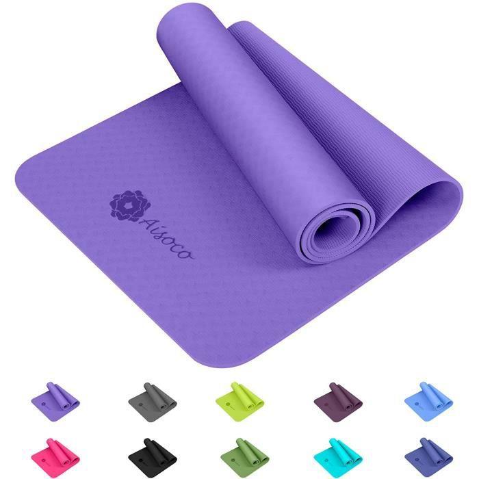Aisoco Premium TPE Tapis de Yoga -Tapis d'exercice Fitness -Tapis de Pilates , Poids léger,Antidérapant, Respectueux de l'environne