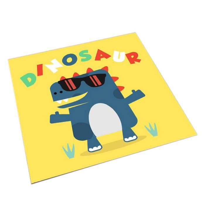 Tapis d'enfants carrés mignons de bande dessinée, jaune et dinosaures de bande dessinée