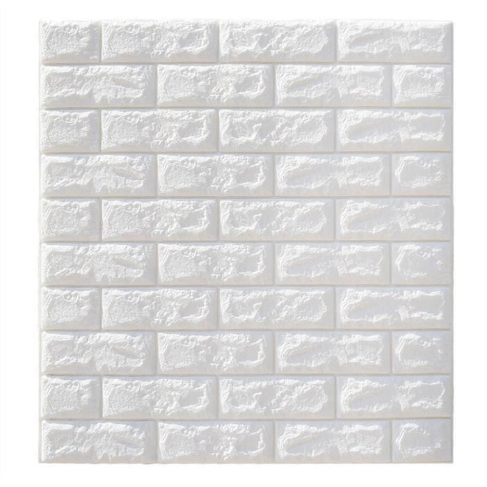 Stickers muraux brique 3d autocollant de panneau de papier peint sticker décor de mur de fond (blanc) - 70x77cm