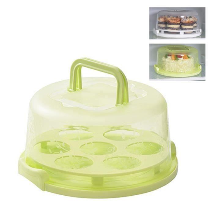 Moule à gateaux Couverture de support de gâteau avec couvercle plat de service à dessert Porte-cupcake,vert