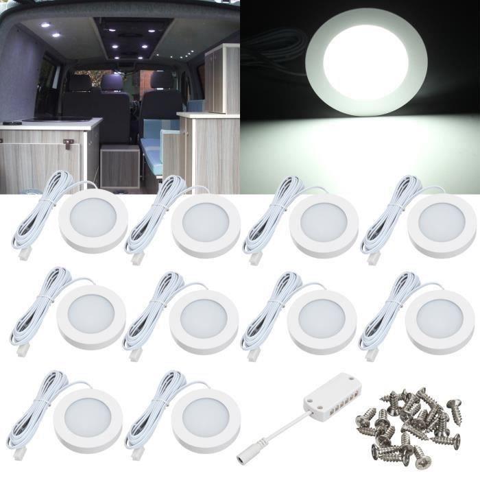 10Pcs 12V Intérieur LED Spot Lumière Pour Camper Van Caravane Camping-Car VW T4 T5 L52677