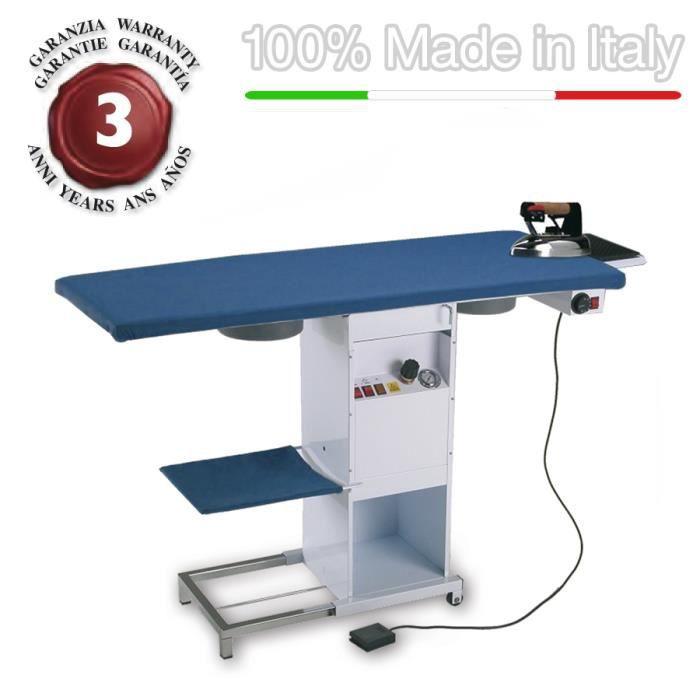 EOLO Table à repasser rectangulaire professionnelle avec chaudière et fer à repasser TS02