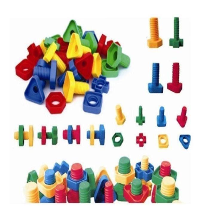 1 Sac Bloc de Construction Vis à Écrou en Plastique Jouet Assemblage Apprentissage Cadeau Pour Enfant Bébé