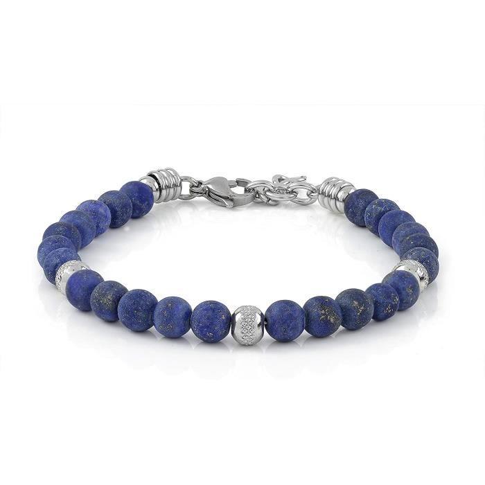 BRACELET GOURMETTE JONC Bracelet 10:10 Bracelet avec pierres naturelles de lapis lazuli 6 mm, perles en acier inoxydable, bracel1291