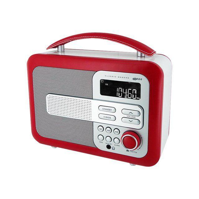 RADIO AM/FM BLANCHE ET ROUGE