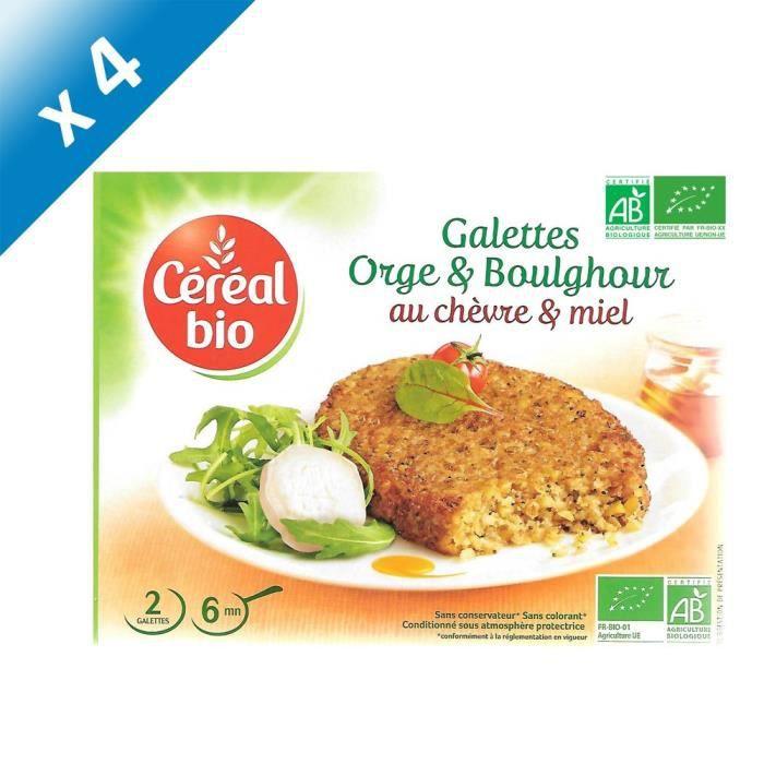 [LOT DE 4] CEREAL BIO Galettes de céréales cuisinées à base d'orge, boulghour, fromage de chèvre et de miel Bio - 200 g
