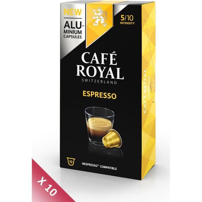 Lot de 10 CAFE ROYAL compatible Nespresso Alu Espresso x10