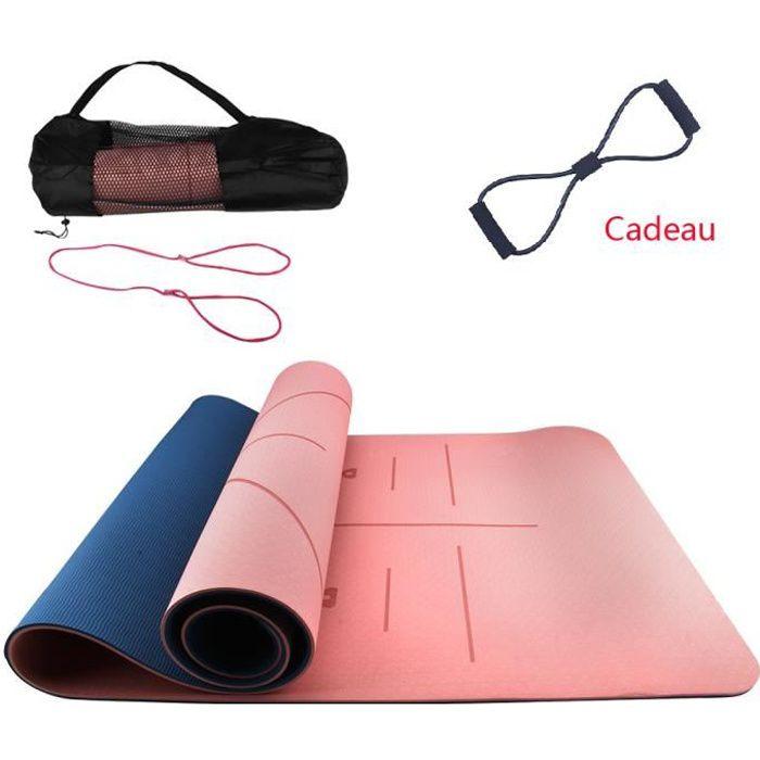 Tapis de Yoga Antidérapant en TPE Tapis de Sport inodore Deux-Tons Yoga mat avec sac+tendeur 183 x 61 x 0,6 cm