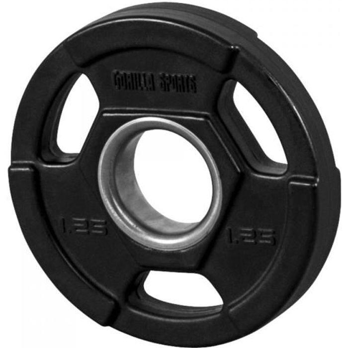 Gorilla Sports - Poids disques olympiques en fonte rêvetement caoutchouc avec anneau métalliquede 51mm - de 12,5 à 25 kg - 1,25kg