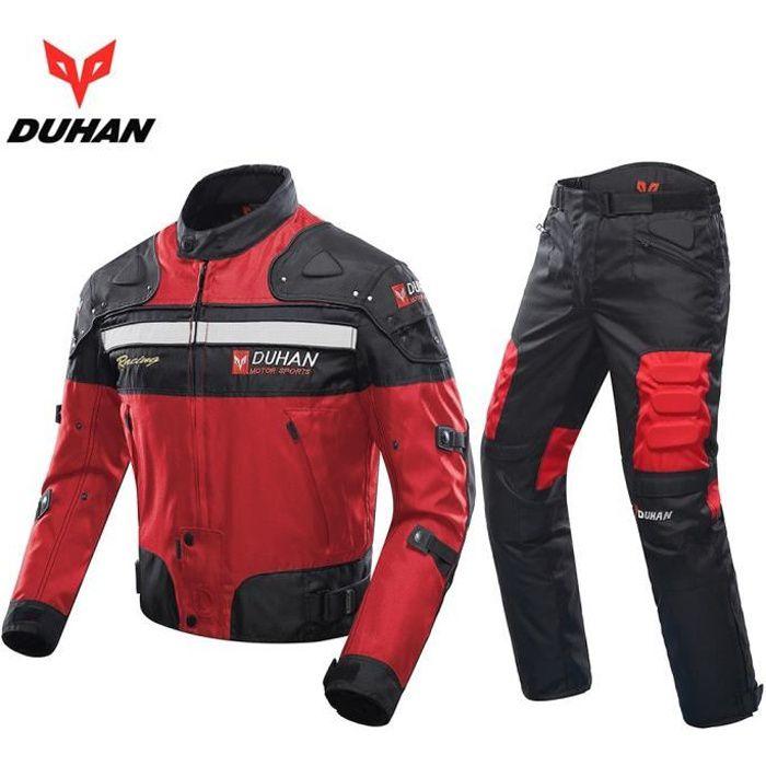 DUHAN Blouson Moto Hommes Moto Motocross Hors-Route Racing Veste Armure de Corps + Pantalon d'équitation Vêtements Set Noir Bleu Rou