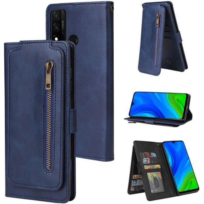 Etui Pour Huawei P smart 2020 6.21-, Bleu Portefeuille 9 Carte Fentes Fermeture éclair ,Porte-Carte, Dragonne magnétique Housse de