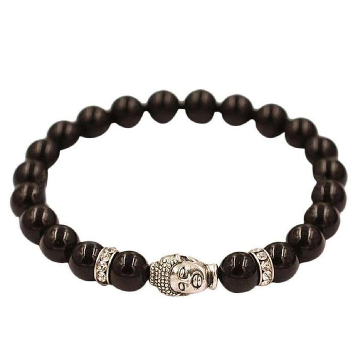 Bracelet chanceux Bracelet de perle avec un tete de Bouddha en argent Bracelet perle elastique charmant Noir