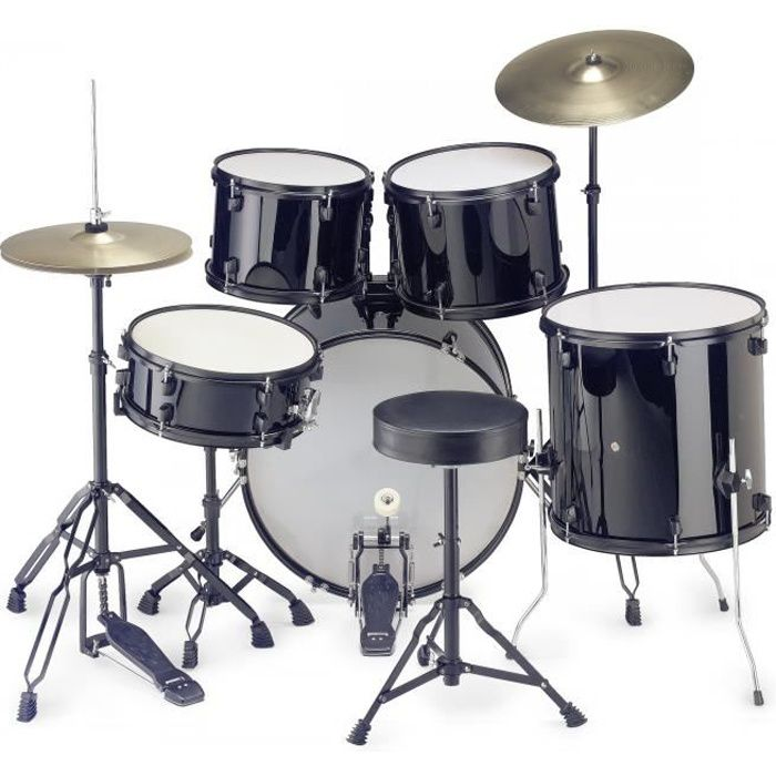 STAGG Kit Complet 5 futs Noir + cymbales + accessoires