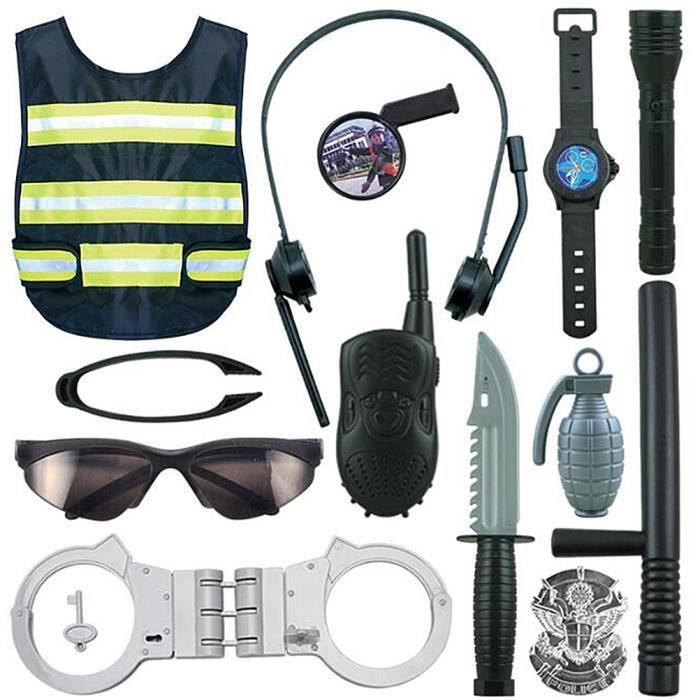 1 Set Cosplay Jouets Durable Drôle Éducatif Tout Équipé Réaliste Police Costume Détective Tenues pour Garçon Enfants ETAI