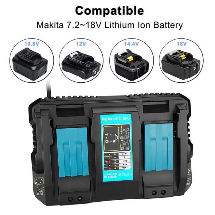 Double chargeur de batterie pour Makita 14.4V 18V BL1830 Bl1430 DC18RC DC18#