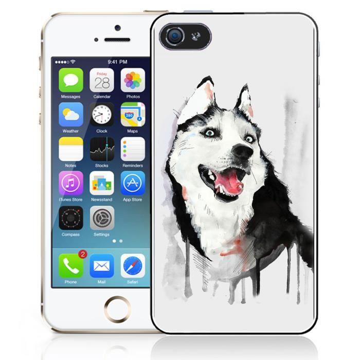 coque iphone 4 4s chien husky splash