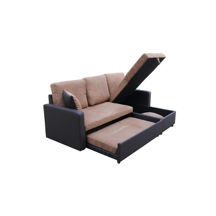 canap d 39 angle convertible rangement marron achat vente canap sofa divan cdiscount. Black Bedroom Furniture Sets. Home Design Ideas